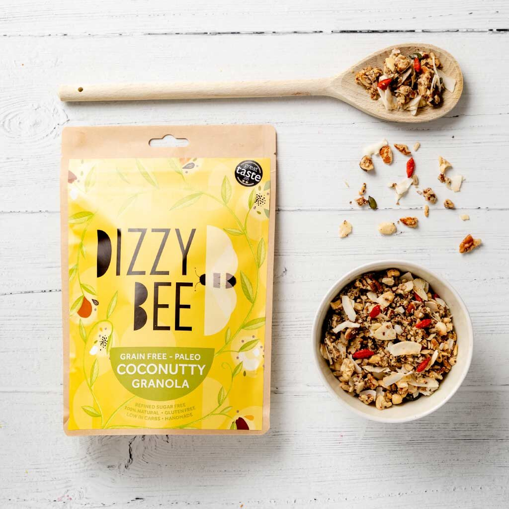 Dizzy Bee Grain Free Paleo Coconutty Granola with bowl